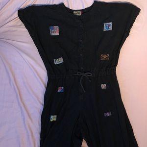 Vintage Black Cotton Jumpsuit with Patches